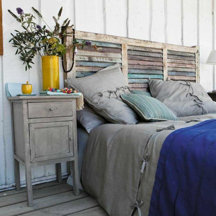 Schlafzimmereinrichtung diy ideen betthaupt alte fensterläden
