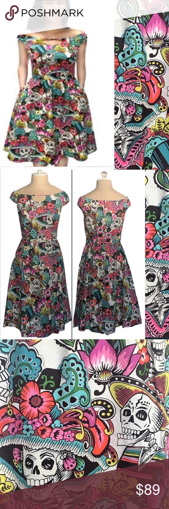 Skulls on Parade dress This off the shoulder dress features all over colorful day of the dead print. Zipper opening on back as well as elastic at waist for extra stretch. Includes pockets!  100% Cotton  Made in USA Dresses