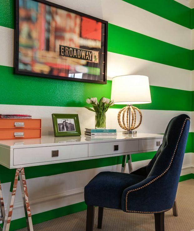 Green White Striped Walls Lacquered Desk Striped Walls