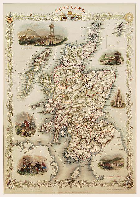Map of Scotland, Tallis, c1851 | B R I T I S H I S L E S M A P S