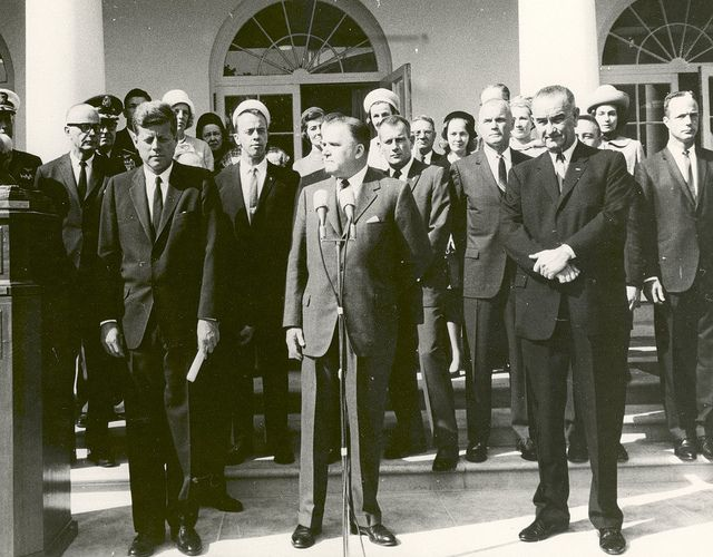 """October 10, 1963: The Mercury Seven astronauts receive the 1962 Robert J. Collier Trophy for """"pioneering manned space flight in the U.S.""""  at a ceremony held at the White House. NASA photo."""