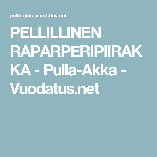 PELLILLINEN RAPARPERIPIIRAKKA - Pulla-Akka - Vuodatus.net