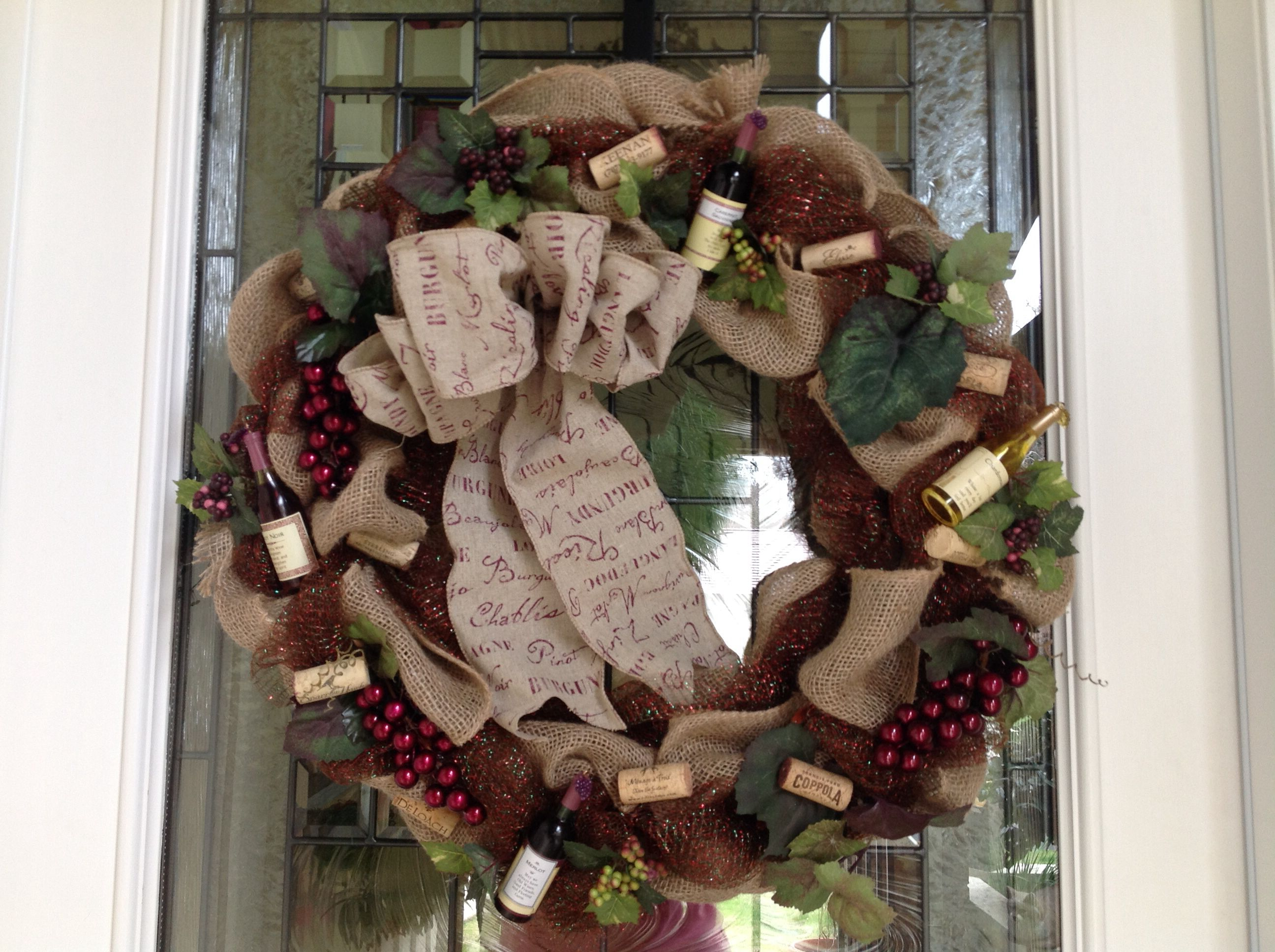 Burlap wine theme wreath Burlap wine theme