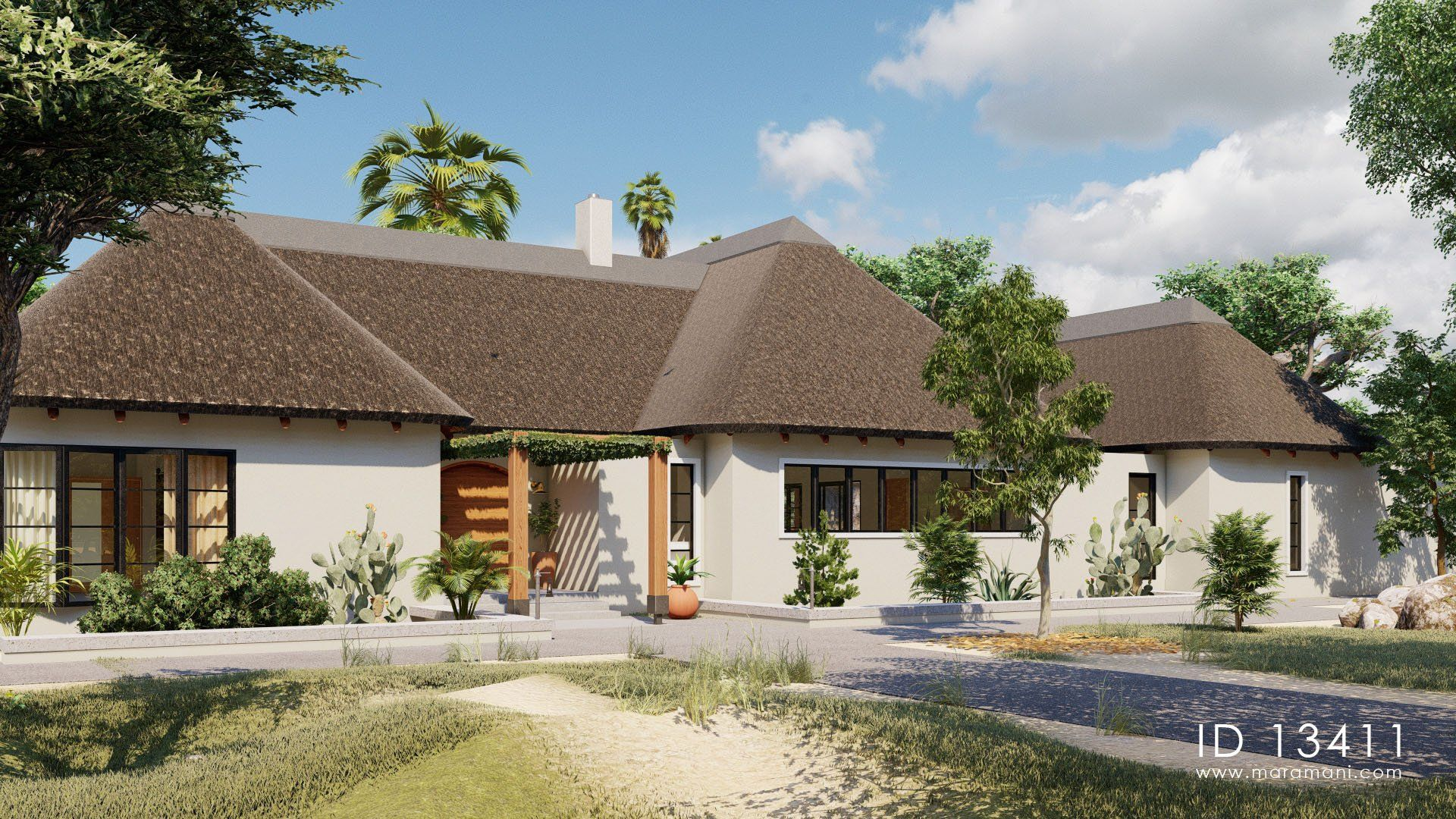 Thatch Roof Villa Id 13411 Thatched Roof Beautiful House Plans House Plans Mansion