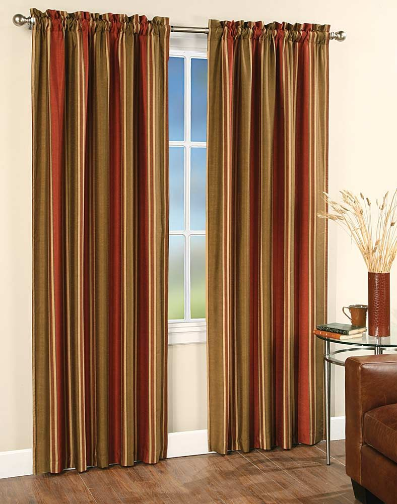 luxury orange curtains drapes and window treatments faux silk stripe window curtain panel. Black Bedroom Furniture Sets. Home Design Ideas