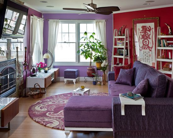 Furniture Design Ideas In Cheerful Rooms Performances: Small Beach Style Living  Room Using Wooden Floor And Purple Carpet Over It Beautiful Purple Sofa  Long ...
