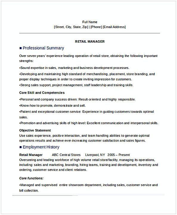 Retail Manager Resume Sample  General Manager Resume  Find The