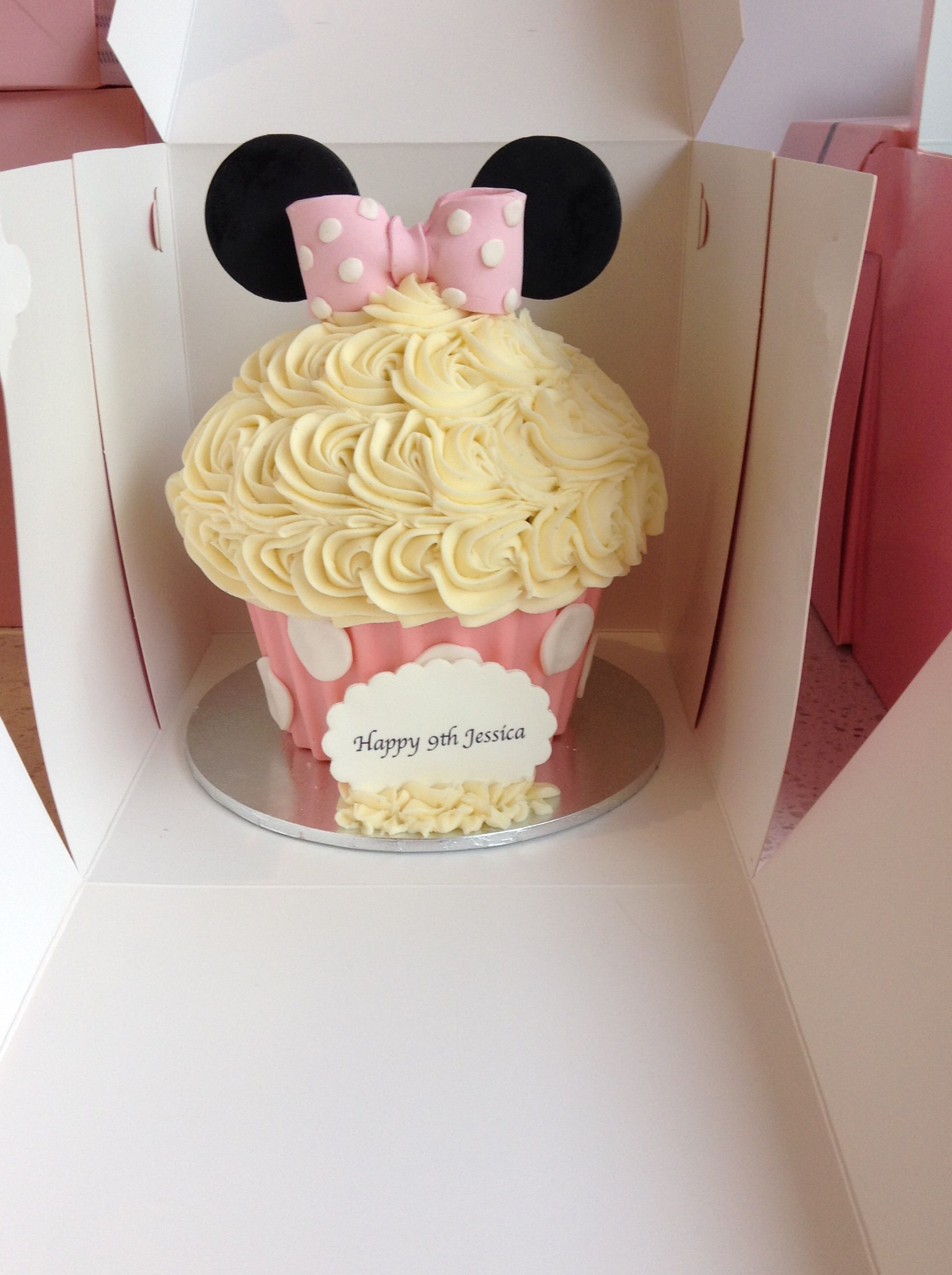 A mini mouse inspired giant cupcake the perfect birthday