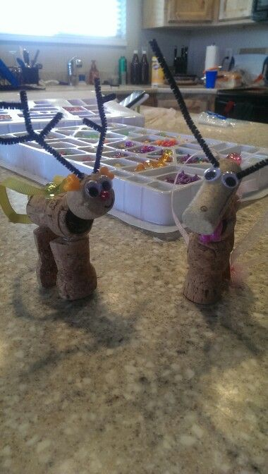 Reindeer ornaments made from corks