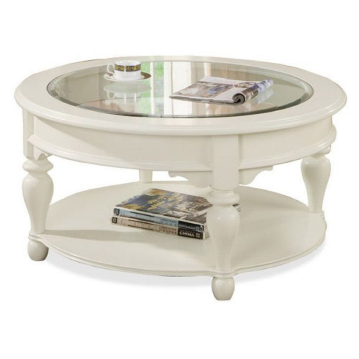 Shabby Chic Round White Coffee Table Idea With Glass