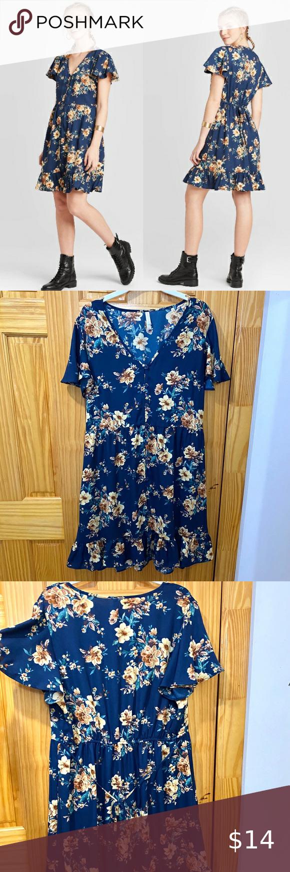 Xhilaration Blue Floral Button Down Dress Large Xhilaration Women S Blue Floral Button Down Dress Target V Neck Siz In 2020 Button Down Dress Floral Button Dresses [ 1740 x 580 Pixel ]