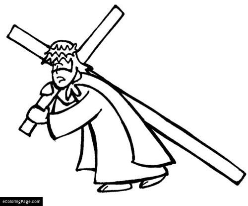 Lord Jesus God Almighty Carrying Cross Coloring Page Free Coloring