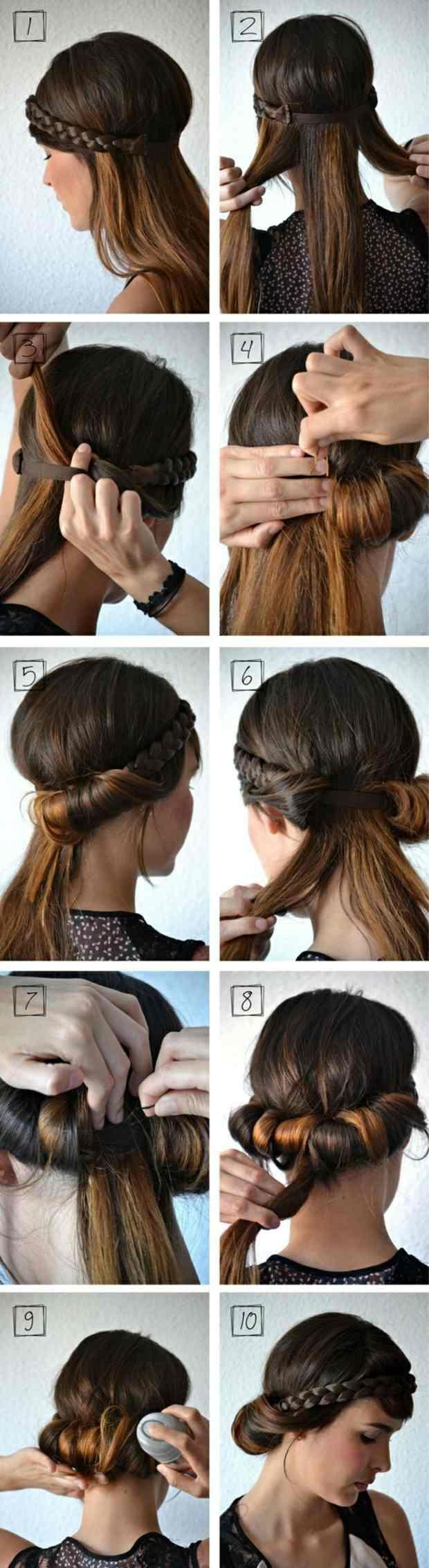 Hochsteckfrisuren mittellange Haare Haarband  Hairstyle