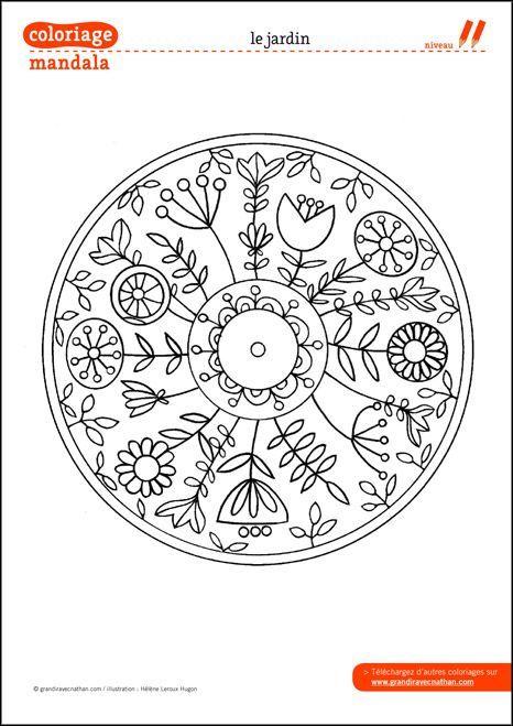 Coloriage Mandala : Le jardin. This would make a great