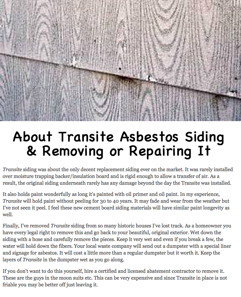 About Old House Asbestos Transite Siding And How To Repair Or Remove It Siding Repair Siding Asbestos Siding