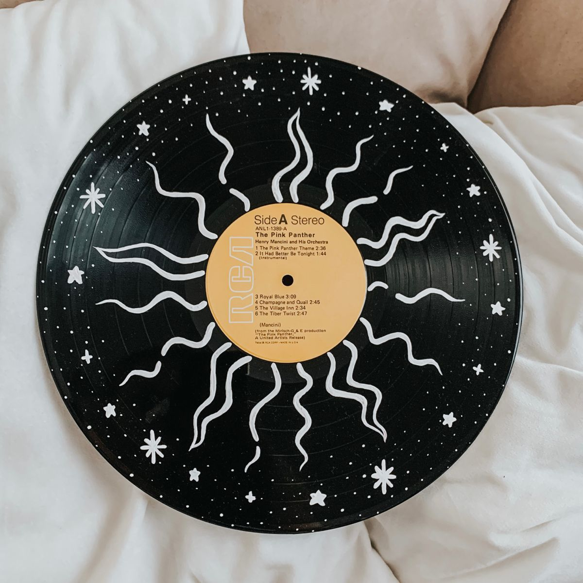 Sun And Stars Hand Painted 12 Inch Vinyl Record Wall Hanging Etsy In 2020 Sun And Stars Colored Labels Vinyl Records