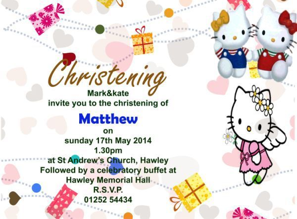 Hello Kitty Invitation For Christening Template Hello Kitty Invitations Hello Kitty Birthday Invitations Christening Invitations