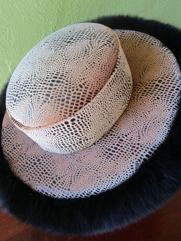 e7323891747 Eva Polini Couture Fur Embossed Black Felt Vintage Wide Brim Hat ...