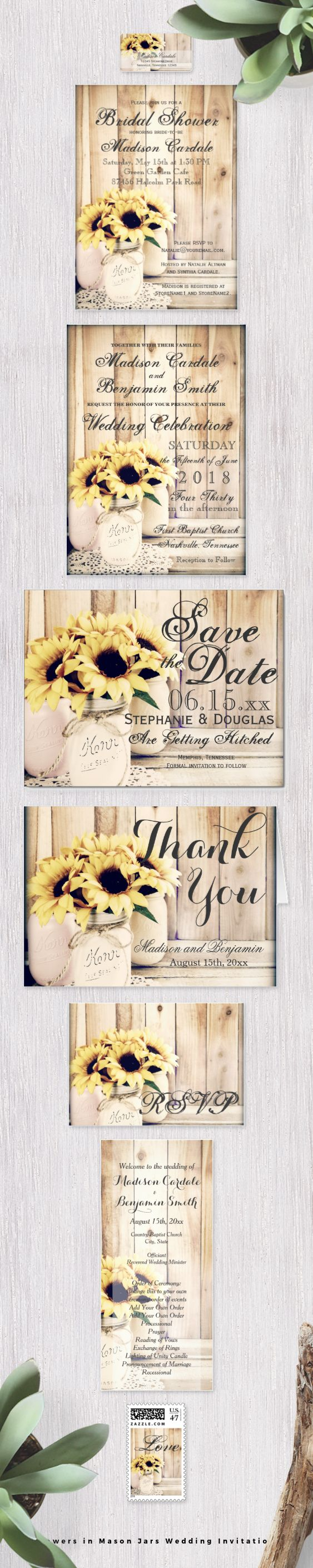 Sunflowers In Mason Jars Wedding Invitation Set With Bouquets Of