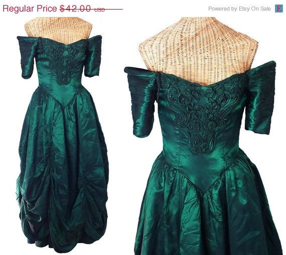 Vintage 1980s green formal gown civil war dress victorian costume irene adler 1950s alfred angelo off shoulder bustle size xxs or girls 12 #dressesfromthesouthernbelleera