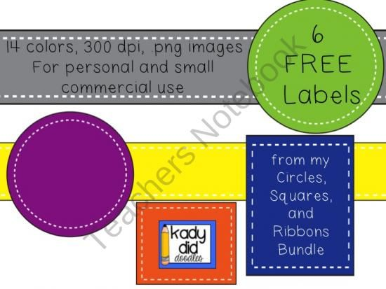 FREE 6 Label Sample from kady did doodles on TeachersNotebook - product label sample