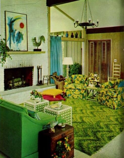 Late 1960s to early 1970s   Retro living rooms, Retro home ...