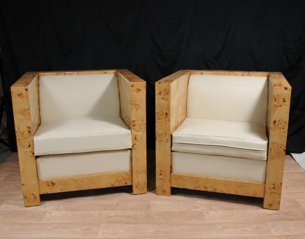 Pair Art Deco Box Club Chairs Armchairs