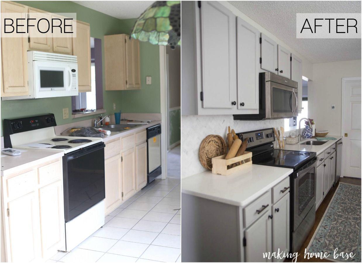 Gray And White Kitchen Makeover White Kitchen Makeover Kitchen Cabinets Painted Grey Kitchen Design
