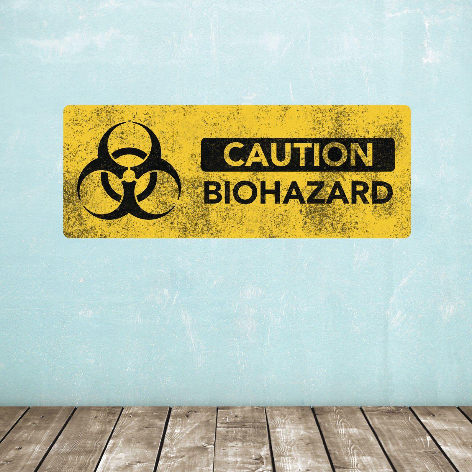 Biohazard Warning Sign Wall Decal / Grunge Look Novelty Sticker ...