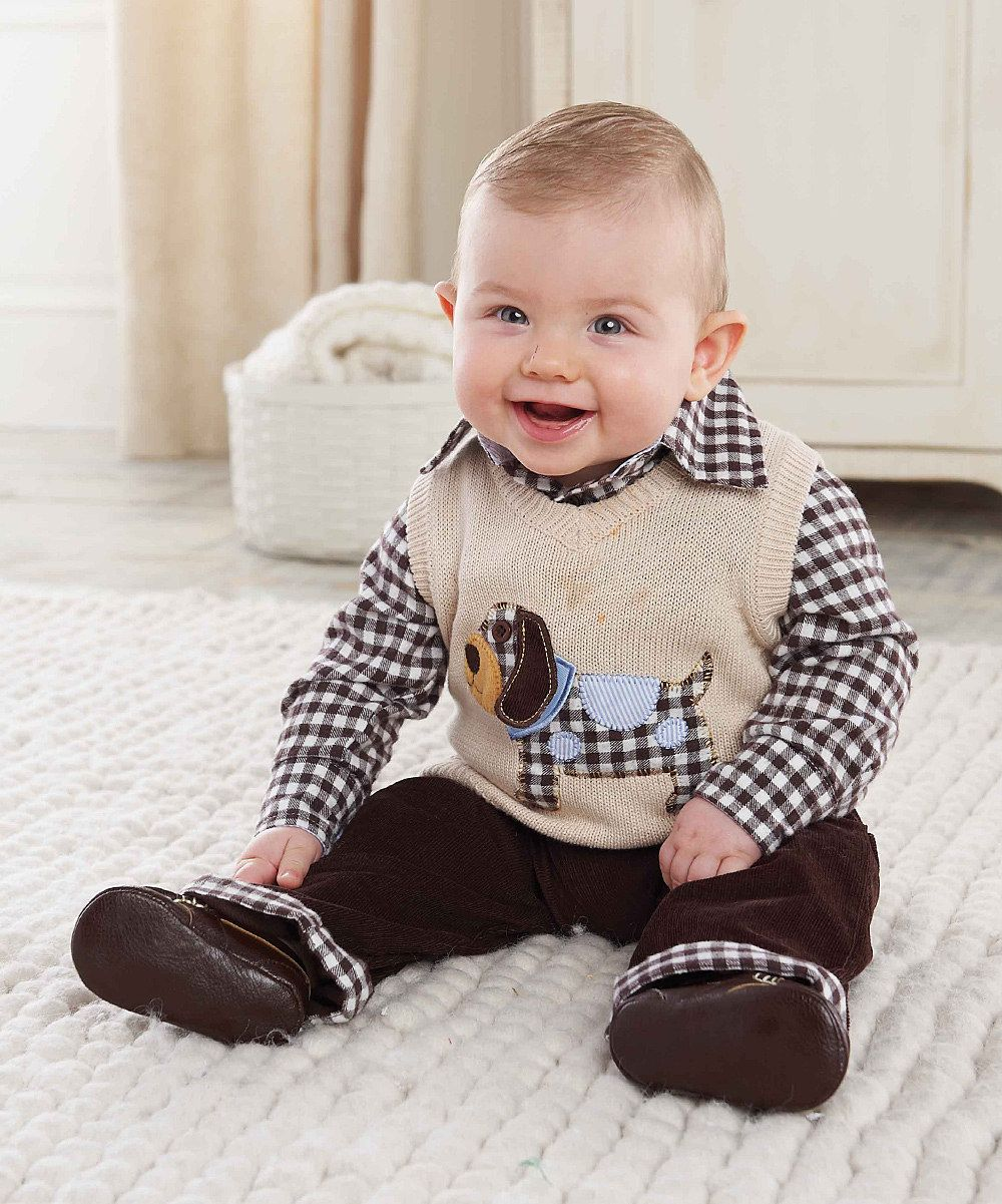 Tan Puppy Sweater Vest Set Infant zulily Boy outfits