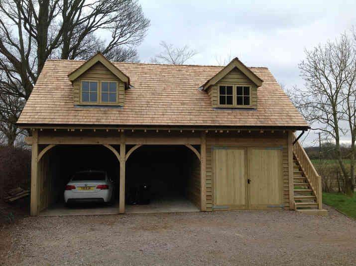 Cedar roof and oak cladding