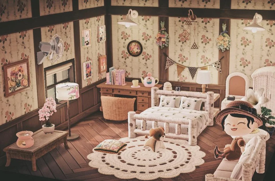 Country Cottage Style Bedroom Animalcrossing In 2020 Animal Crossing Animal Crossing Game Animal Crossing Memes