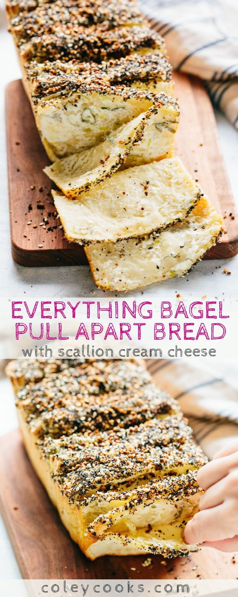 Everything Bagel Pull Apart Bread with Scallion Cream Cheese | Coley Cooks...