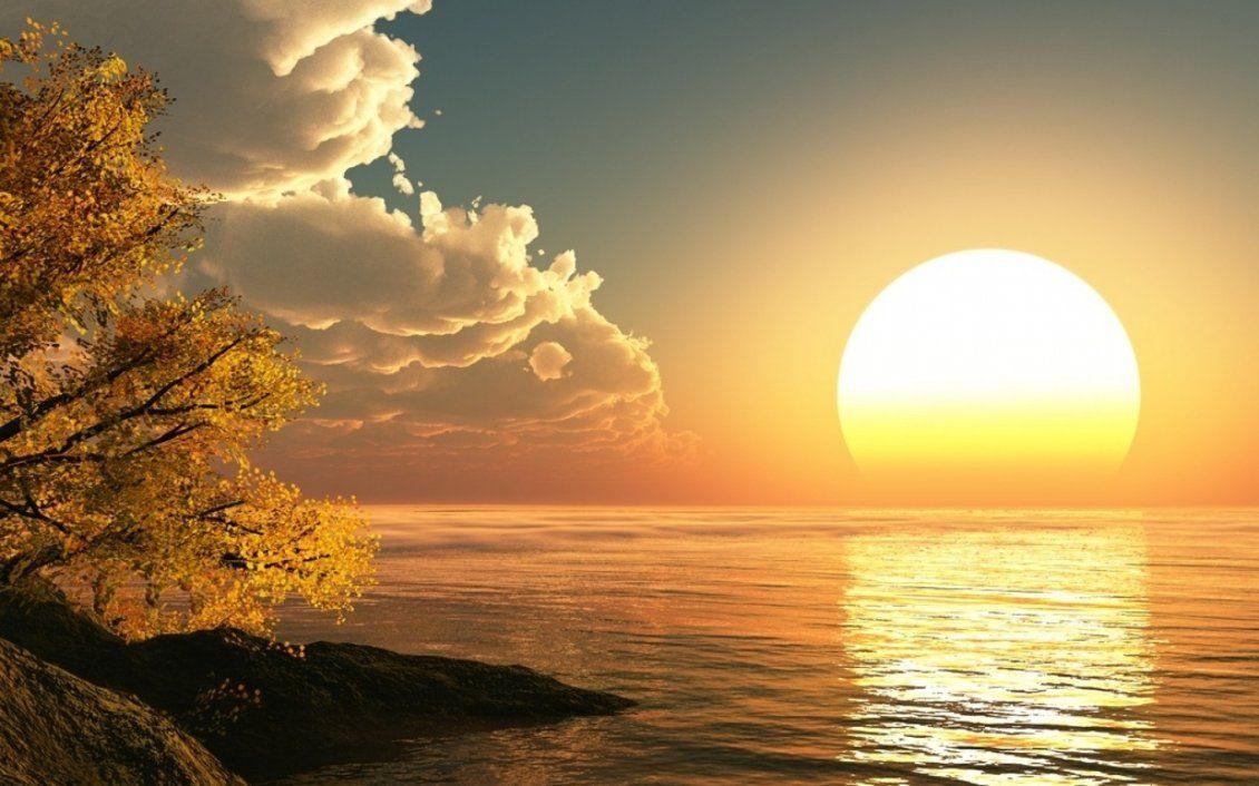 Big Sunrise On The Ocean Hd Wallpaper Free Image Download High Resolution Wallpaper Beautiful Sunrise Beautiful Sunset Sunrise