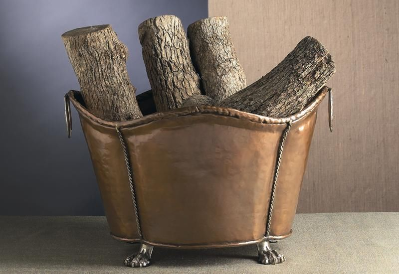 Antique Copper Footed Fireplace Log Holder Wine Bucket