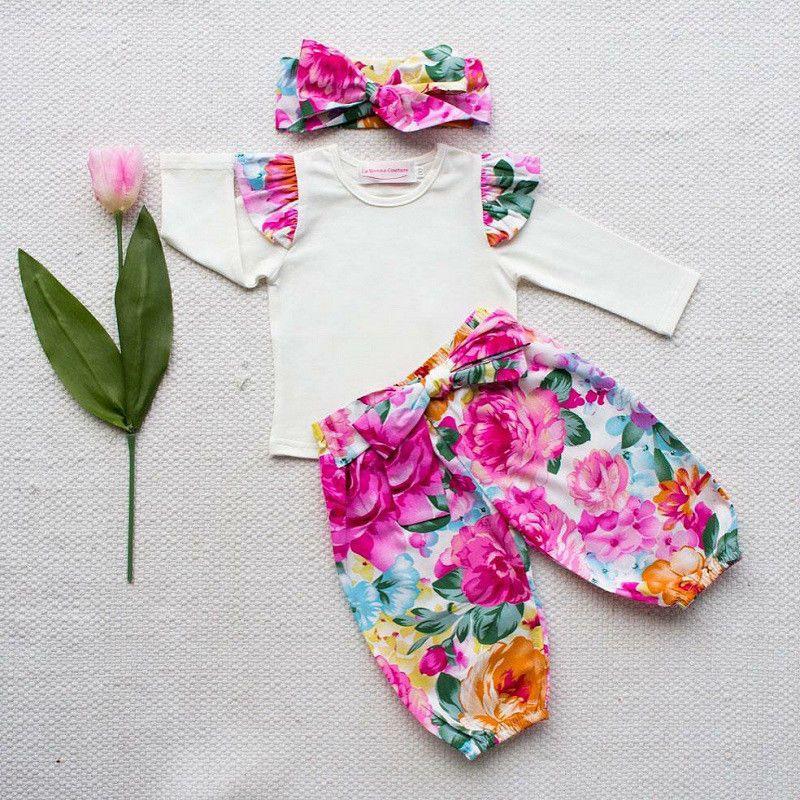 503fca2f8 US Newborn Kids Baby Girl Floral Clothes T-shirt Pants Headband 3pcs ...