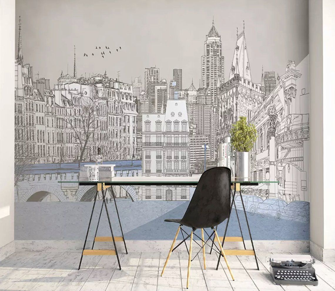 Black And White Urban Cityscape Illustration Accent Wall//Door Mural Wall Art