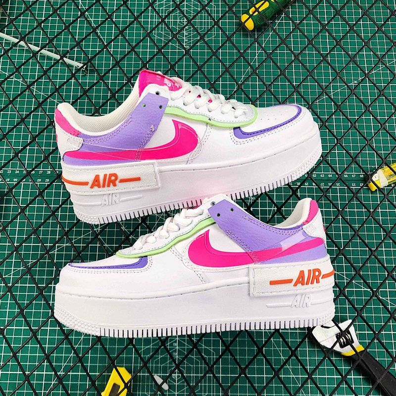nike air force 1 green white and pink