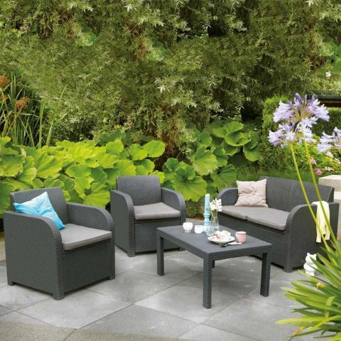 Allibert Montreal Lounge Sofa Set In Graphite Grey The Uk S No 1 Garden Furniture