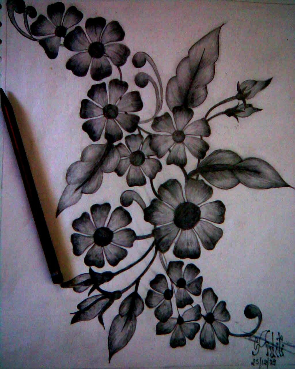 Pencil Shading Flower drawing, Flower sketch pencil