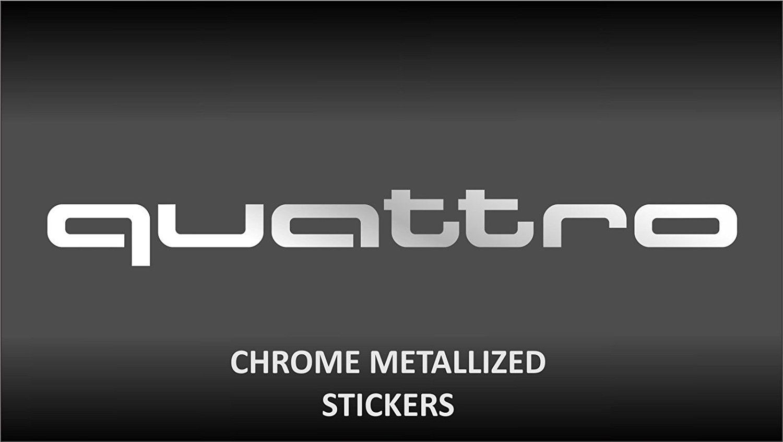 2x Audi Quattro Chrome Crome 20cm Decal Tuning Aufkleber Sticker