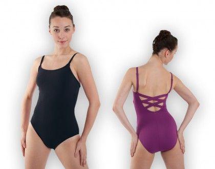 Adult Girl Women Ballet Dance Leotard wear twist cross low back Tango Purple