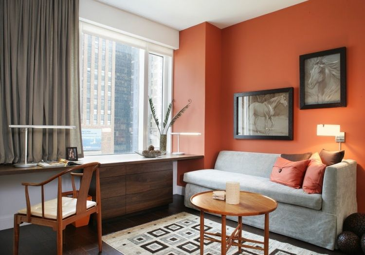 decoracion en color naranja living pinterest color