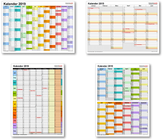 Kalendervorlagen 2019 für Excel, Word und PDF Kalender
