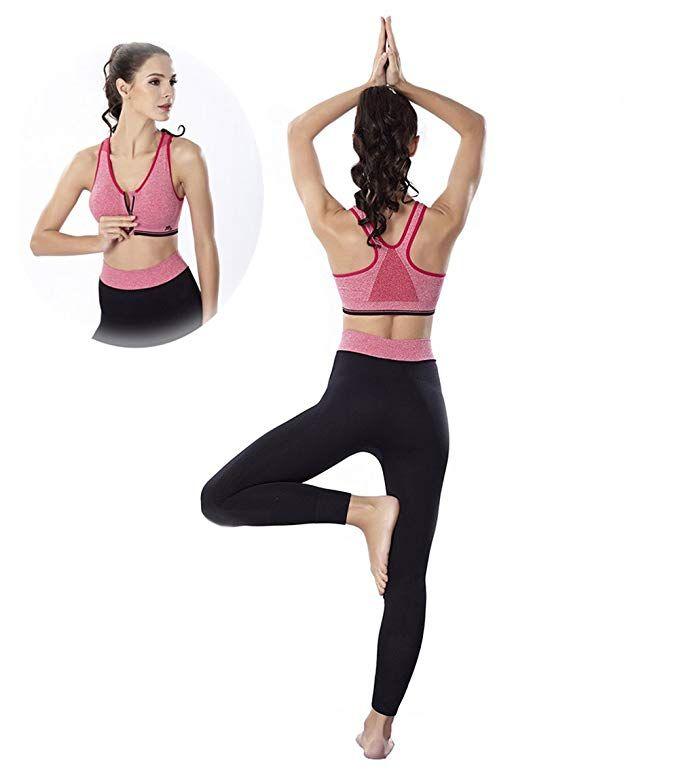 92243fe19ee Amazon.com  Suki Chris Sports Bra and Yoga Pants Gym Outfits Breathable  Exercise Bra