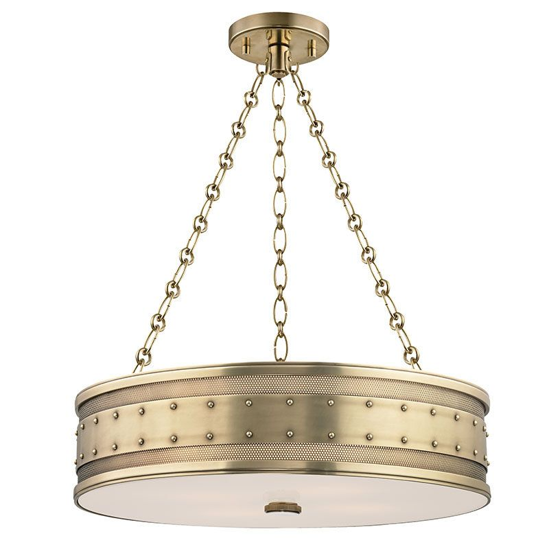 View the Hudson Valley Lighting 2222 Gaines 4 Light Drum Pendant with Riveted Metal Shade at LightingDirect.com.