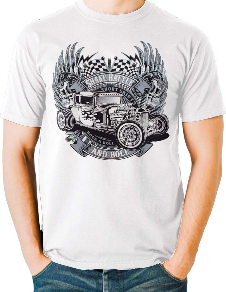 2c2a6bd5d2a Hot Rod T Shirt Vintage Drag Race Rat Rod Skull Flames Small to 6XL and Tall   PitStopShirtShop  GraphicTee