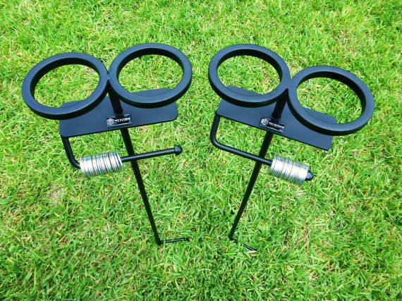 Set Of 2 Skolder Stands Ground Stakes Outdoor Score Keeper Drink Holders