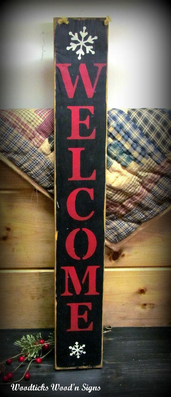Wood Welcome Sign Welcome Vertical Winter Decor By
