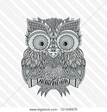 poster of Vector zentangle owl illustration. Ornate patterned bird.